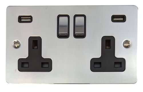 G&H FC3910 Flat Plate Polished Chrome 2 Gang Double 13A Switched Plug Socket 2.1A USB